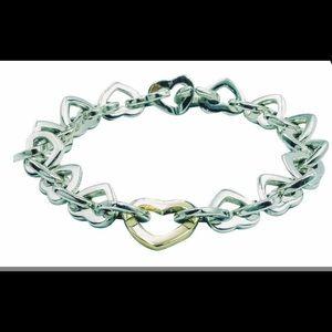 Tiffany&co Gold Heart CenterSterlingSilverBracelet